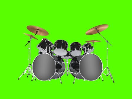 bass drum: Drum kit with two bass drums. Isolated on green