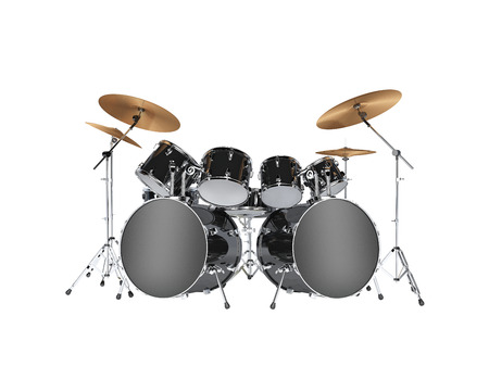 instruments: Drum kit with two bass drums. Isolated on white