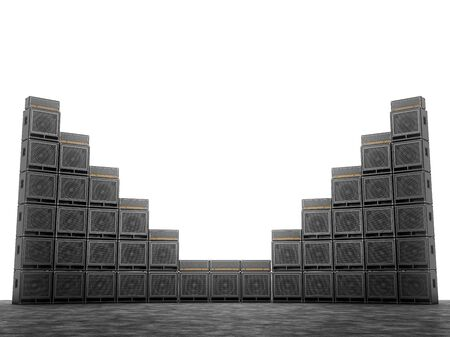 amp: Wall of guitar amps on the background of bright white light