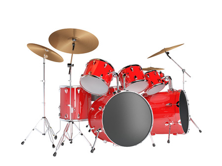 red drum: Drum set red isolated on a white background Stock Photo
