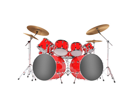 Drum set red isolated on a white background Imagens