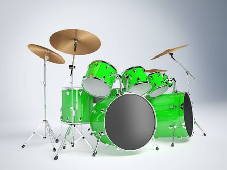 two party system: Drum set green on a white background