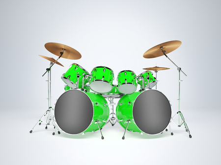double volume: Drum set green on a white background