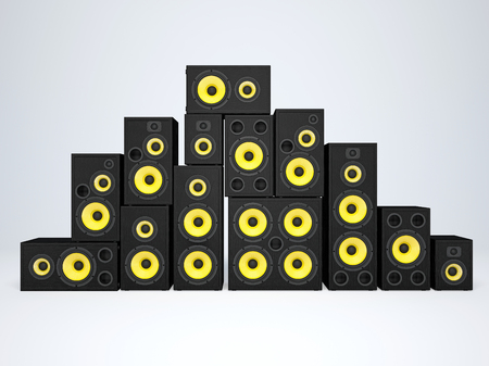 double volume: A large group of audio speakers