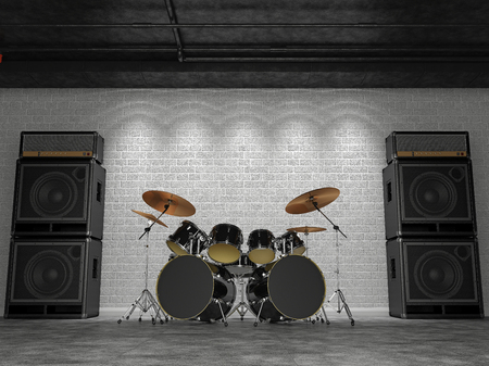 3d render of a drum set on a background of a brick wall and guitar amps. Stock Photo
