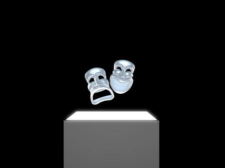 mascaras de teatro: Dos máscaras de teatro de plata