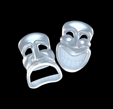 caretas teatro: Dos máscaras de teatro de plata