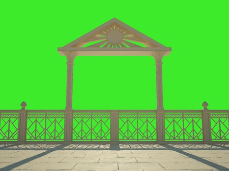 Balustrade with columns on the waterfront. Isolated on green Stock Photo