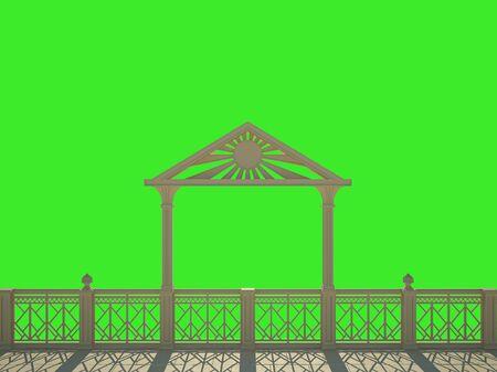 Balustrade met kolommen aan de waterkant. Geïsoleerd op groen