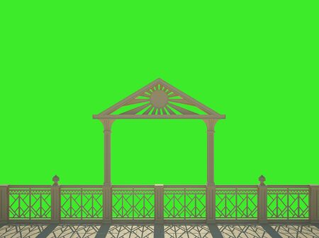 waterfront: Balustrade with columns on the waterfront. Isolated on green Stock Photo