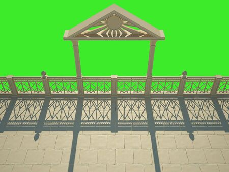 balustrade: Balustrade with columns on the waterfront. Isolated on green Stock Photo