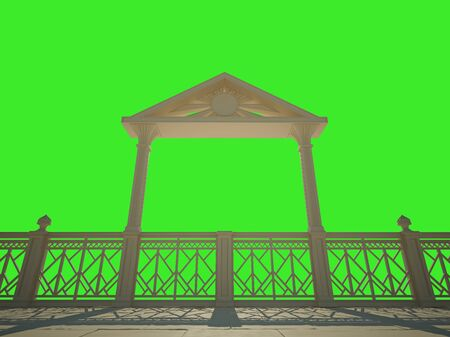 promenade: Balustrade with columns on the waterfront. Isolated on green Stock Photo
