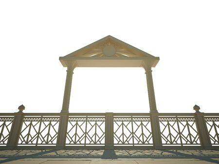 balustrade: Balustrade with columns on the waterfront. Isolated on white Stock Photo