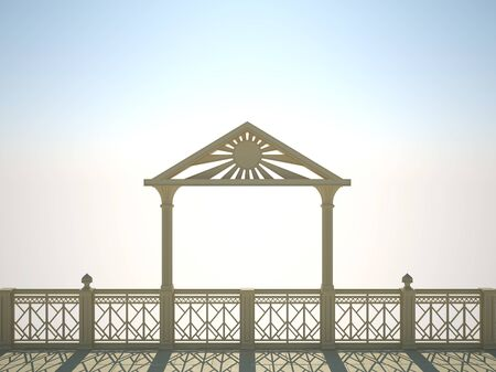 balustrade: Balustrade with columns on the waterfront, a bright sunny day Stock Photo