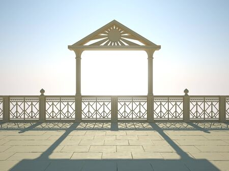 waterfront: Balustrade with columns on the waterfront, a bright sunny day Stock Photo