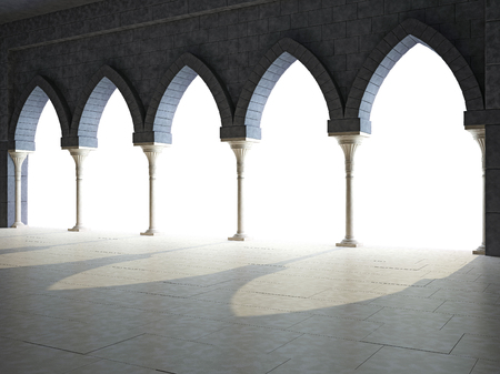 grandiose: Colonnade in the Gothic style. Isolated on white