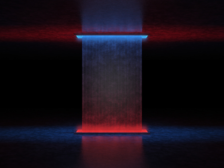 Abstract mysterious structure in a dark space illuminated by red and blue light
