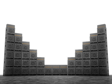 amps: Wall of guitar amps on the background of bright white light