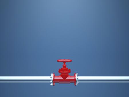 青の背景に産業用パイプ バルブ 写真素材