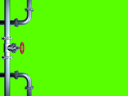 Industrial Pipe Valve isolated on Green Stock Photo