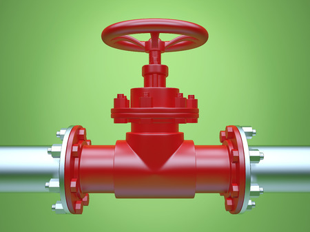 Industrial Pipe Valve on green Background