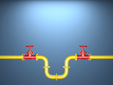 Two industrial Pipe Valve on blue Background
