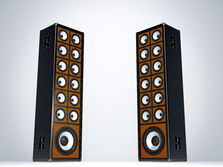 two party system: Two large audio speakers