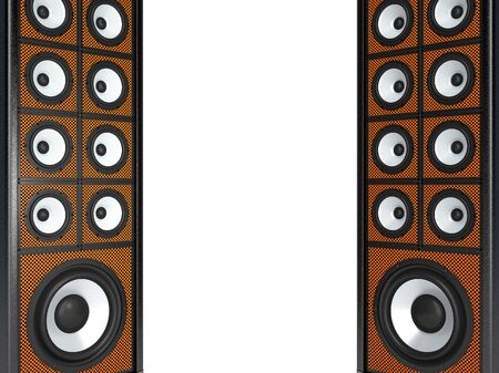 double volume: Two large audio speakers. Isolated on white