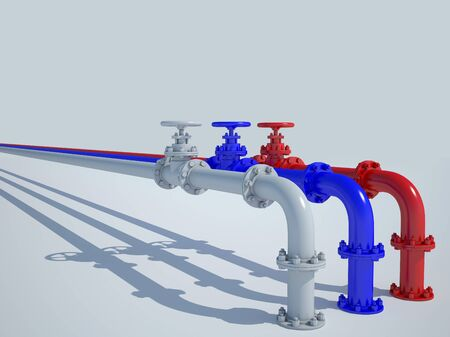 The pipeline is painted in the colors of the Russian flag Stock Photo