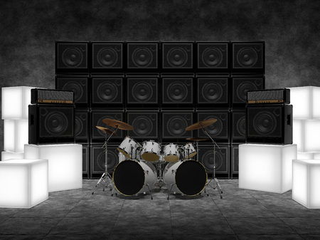 drum and bass: Abstract scene with drums, guitar amps and glowing cubes
