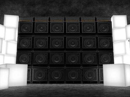 amps: Wall of guitar amps and light cube