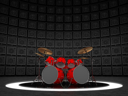combo: Red drum set against the backdrop of a wall of guitar amps