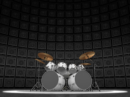 amp: White drum set against the backdrop of a wall of guitar amps Stock Photo