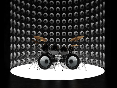 Unusual drum kit surrounded by a wall of speakers Stock Photo