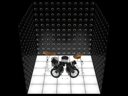 drum kit: Unusual drum kit surrounded by a wall of speakers Stock Photo
