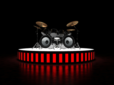 brutal: Unusual brutal drum kit stands on the podium. Stock Photo