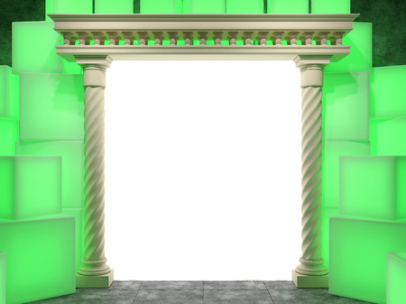 grandiose: Abstract portal to the classical style on a background of a wall of glowing cubes