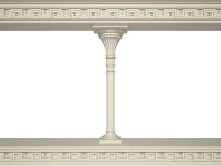 colonnade: Ancient colonnade isolated on a white