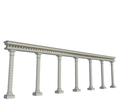 Colonnade in the classic style. Isolated on White
