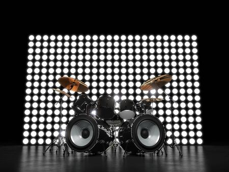closeup: Unusual drum set against the backdrop of glowing wall