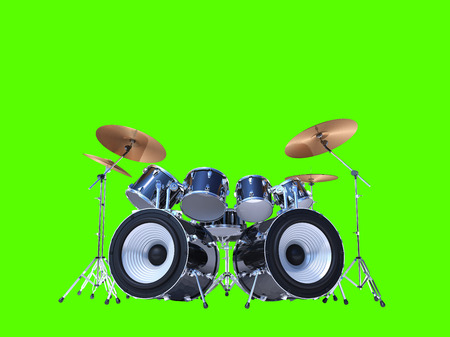bass drum: A cool drum kit isolated on green
