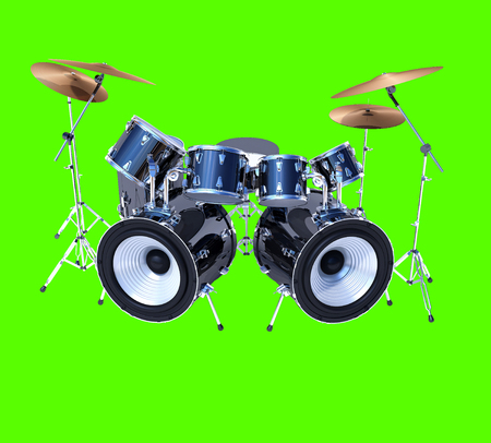 drum kit: A cool drum kit isolated on green