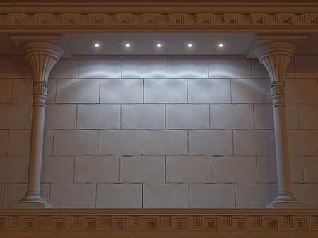 moldings: Wall with classical columns and moldings