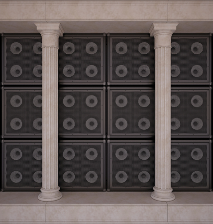 pillar box: Classical colonnade, on a background of a wall of guitar amps