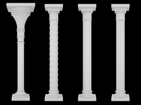 doric: Set columns isolated on a black background