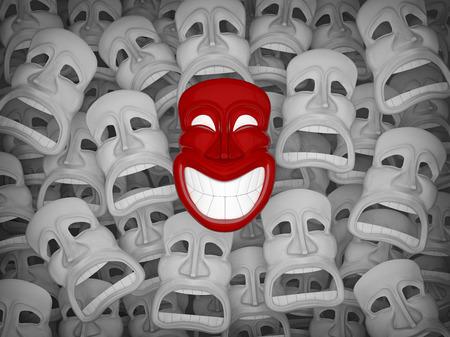 Unique red smiling mask among many sad masks