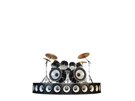 violent: Unusual brutal drum kit stands on the podium. Hell yeah !!! Isolated on white.