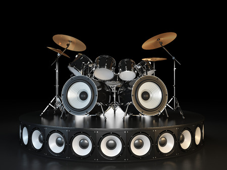 Drum kit stands on the podium.