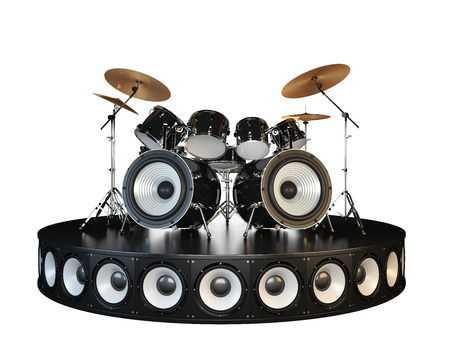 Unusual brutal drum kit stands on the podium. Hell yeah !!! Isolated on white.
