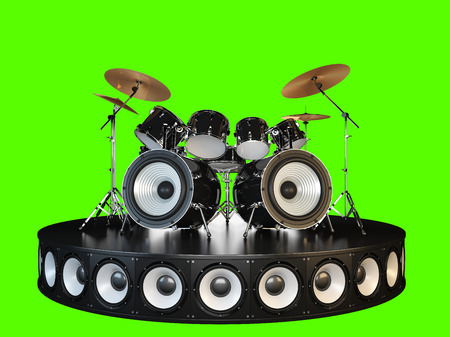 Drum kit stands on the podium. Isolated on green.